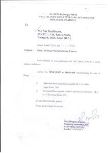 Sai-Healthcare-Drugs-Manufacturing-License